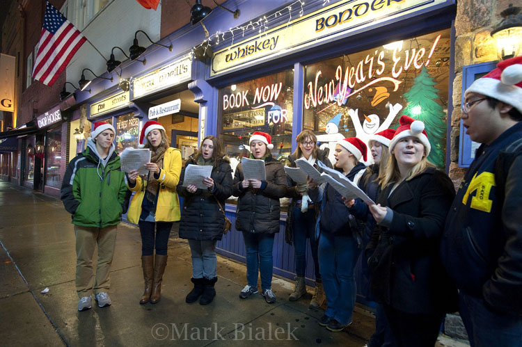 Christmas Caroling Along Main Street