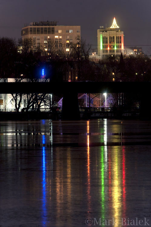 Ann Arbor Lights Reflected Off The Huron River
