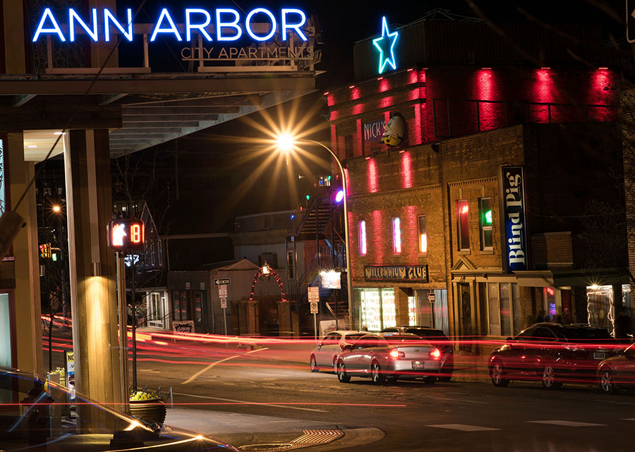 A 10 second exposure shows the Blind Pig, with Ann Arbor city apartments at the top left.