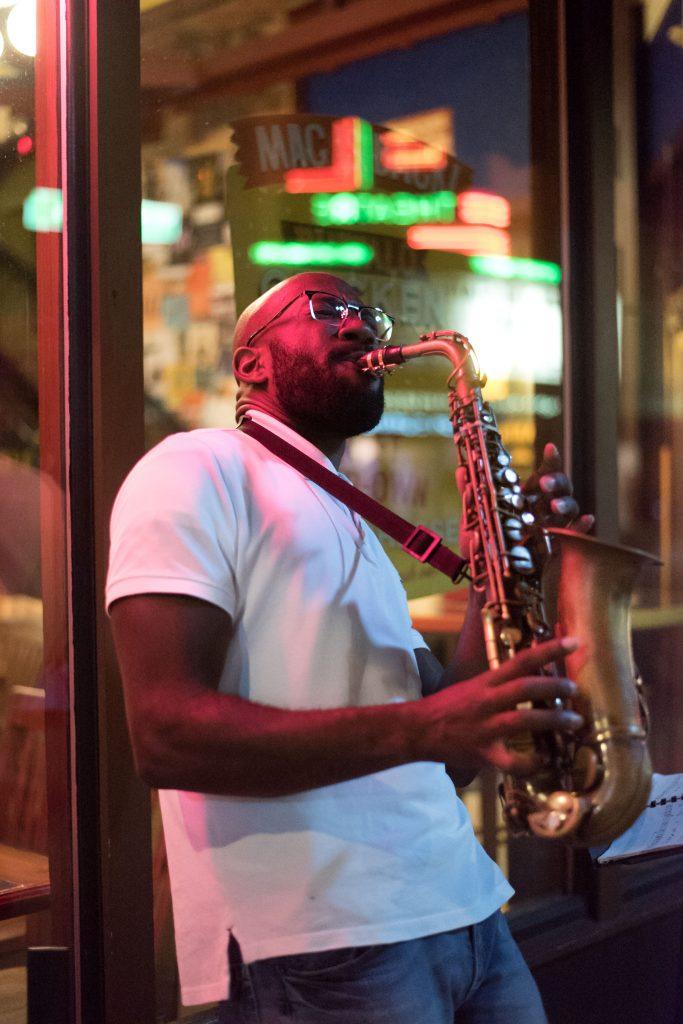 Alto sax street musician