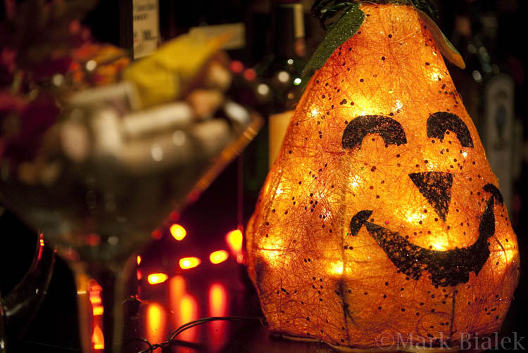 Halloween bar decorations on Main Street