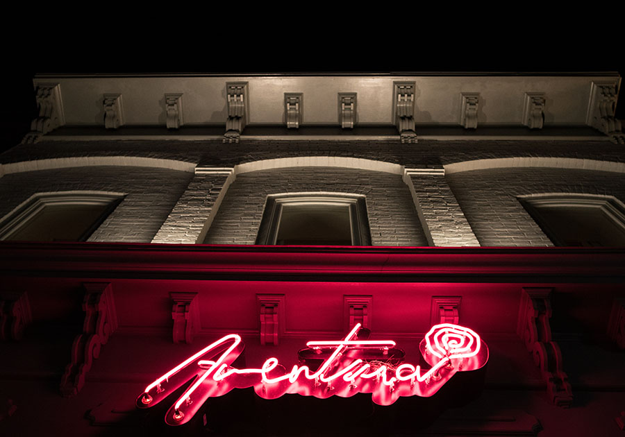 Aventura, a tappas-style restaurant is a new Ann Arbor restaurant. The neon sign here was made by Mark Chalou. He's keeping an old school sign vibe alive.