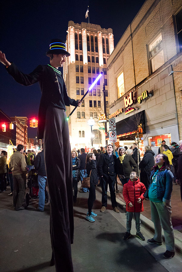 Connor Otto participates in Fool Moon on Washington St in Ann Arbor, MI on April 1, 2016. (Photo by Mark Bialek)