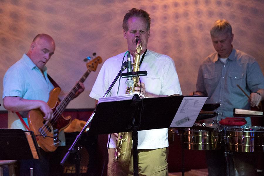 Las Gatos, with Paul VornHagen on tenor sax, performs Live Salsa at Rush Street in downtown Ann Arbor Thursday night.
